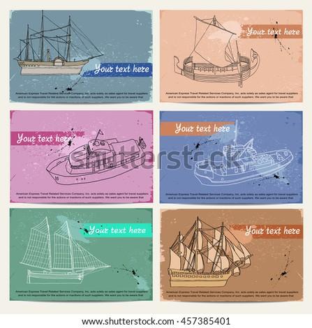 ship. card. set - stock vector