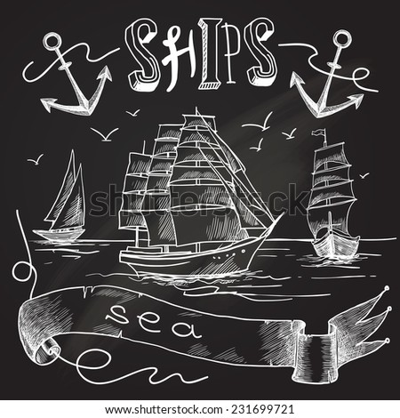 Ship chalkboard poster with sea birds anchors and sailing elements vector illustration. - stock vector