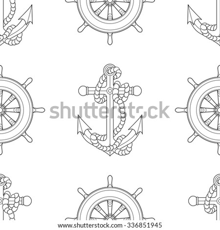 Ship equipment zentangle seamless pattern adult for Adult coloring pages nautical