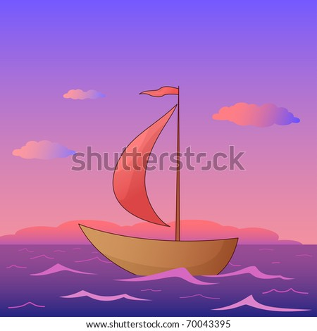 Ship floats in the morning sea under red sails, vector - stock vector