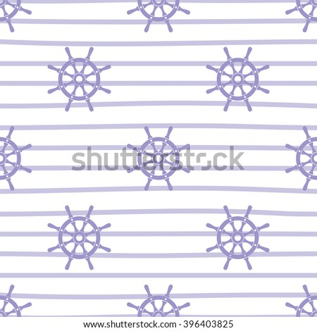 Ship helm vector seamless pattern. Helm, steering wheel and stripes seamless texture. Steering wheel symbol seamless pattern. Ship helm vector wallpaper design. EPS8 vector illustration. - stock vector