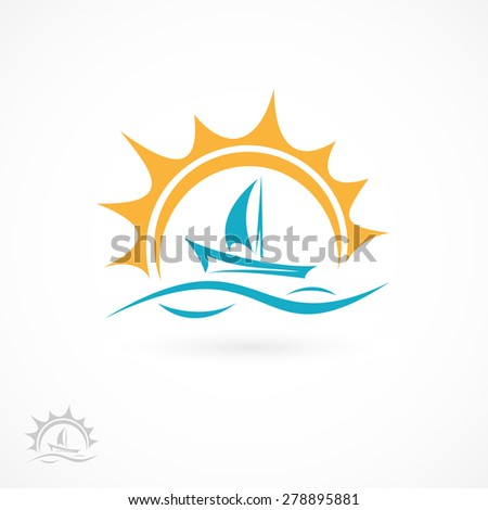Ship icon isolated on white background, illustration. - stock vector
