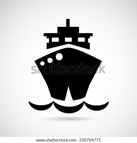 Ship icon isolated on white background. VECTOR illustration. - stock vector