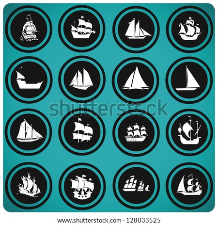 ship icons. Icon set Boats - stock vector