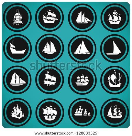 ship icons. Icon set Boats - stock vector