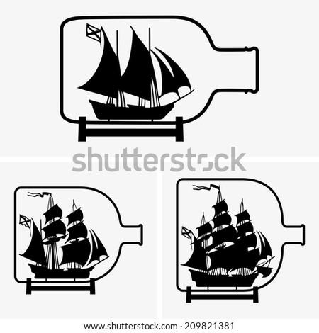 Ship in a bottle - stock vector