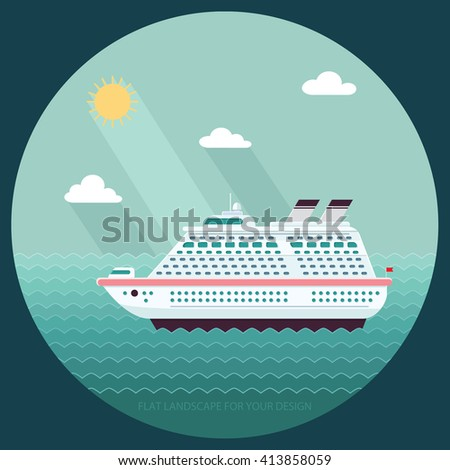 Ship in the Ocean. Trip around the world. Flat design style vector illustration.