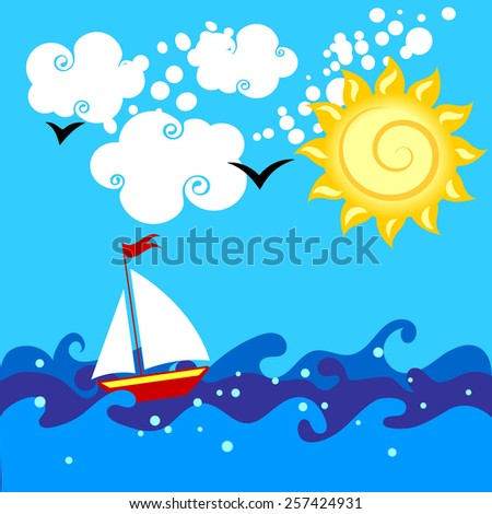 ship in the sea in a sunny day - stock vector