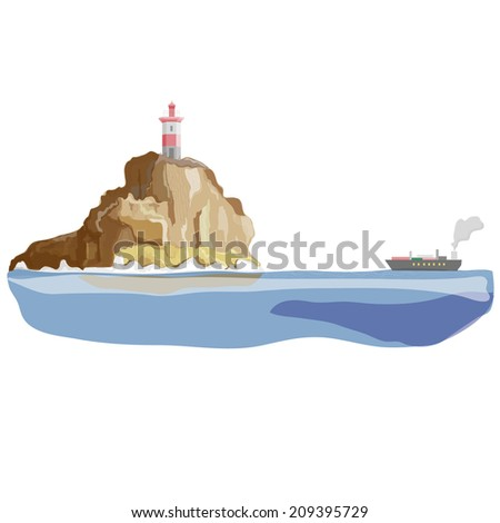 ship on a background of mountains with lighthouse - stock vector