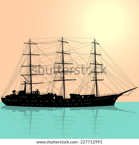 Ship sailing boat silhouette isolated on white background. Vector illustration.