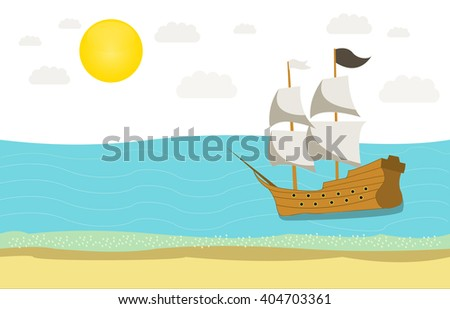 Ship sailing on the sea on the sunny day with white clouds