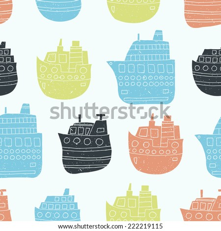 Ship seamless pattern. Vector illustration.