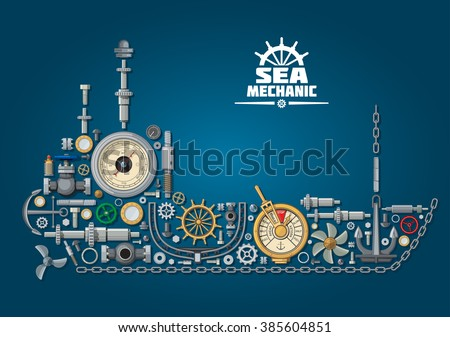 Ship silhouette made of mechanical parts and nautical equipment with propeller and anchor, chain and rudder, engine order telegraph, portholes and helm, steering system, barometer and ball valves