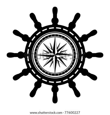 Ship steering wheel abstract, vector illustration - stock vector