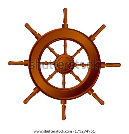 Ship steering wheel, isolated on white  - stock vector