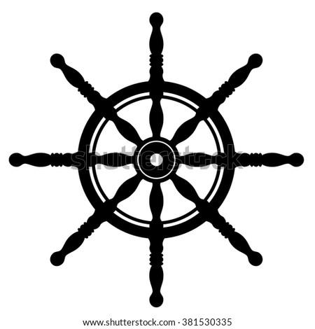 Ship steering wheel silhouette isolated on white background. Rudder. Helm wheel.  - stock vector