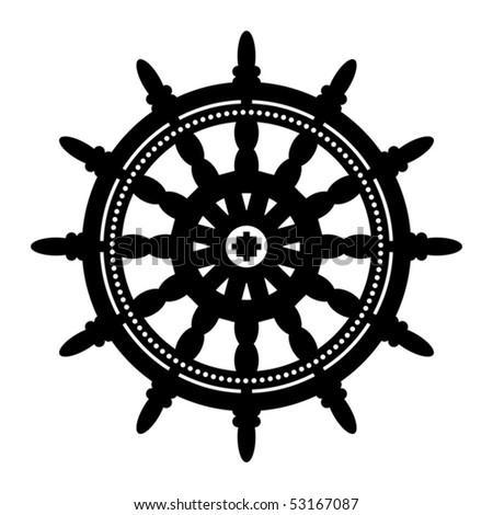 Ship steering wheel, vector illustration - stock vector