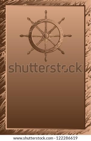 Ship steering wheel vintage vector illustration - stock vector