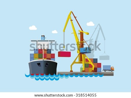 Ship unloading at the seaport. Flat vector concept. - stock vector