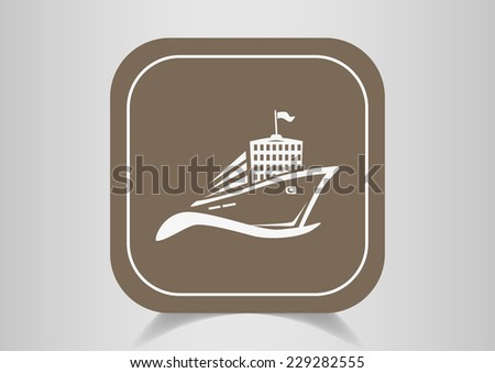 ship, web icon. vector design - stock vector