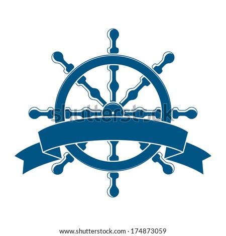 Ship Wheel With Banner. Nautical Emblem. Vector - stock vector