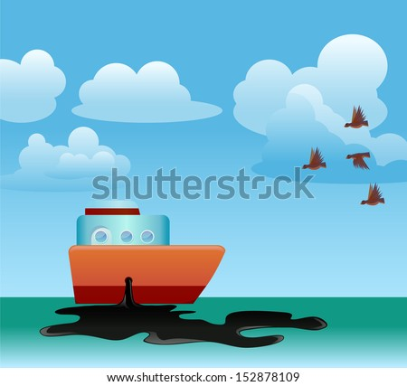 Ship with leaking oil or oil spill - stock vector