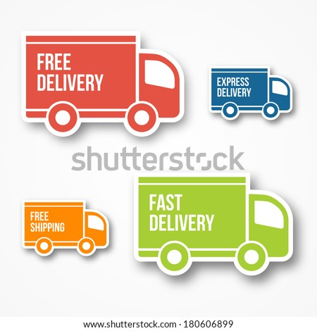 shipment and free delivery, free shipping, 24 hour and fast delivery icons - stock vector