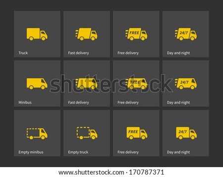 Shipments and free delivery icons. Vector illustration. - stock vector