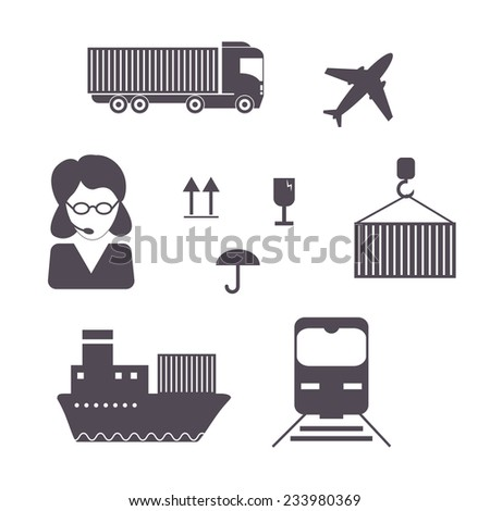 Shipping and cargo icon set. Vector illustration - stock vector