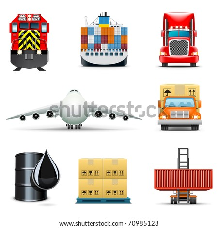 Shipping and cargo icons | Bella series - stock vector