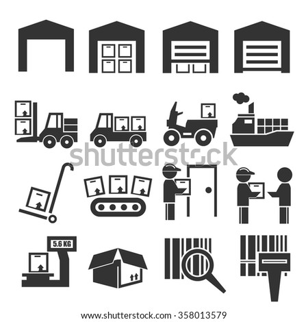 shipping and delivery icon set - stock vector