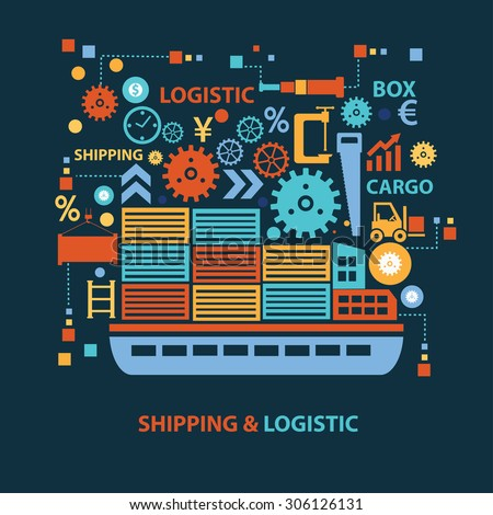 Shipping and logistic concept design on dark background,clean vector - stock vector
