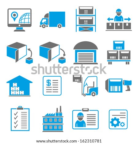 shipping and logistic icons, blue color theme - stock vector