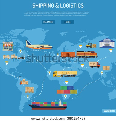 Shipping and Logistics Concept with Railway Freight, Air Cargo Freight, Freight Maritime Shipping and Freight Trucking Flat icons. Logistics Infographics. Logistics and Freight Transport Advertising.  - stock vector