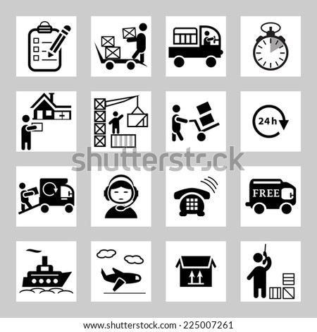 Shipping and logistics icons set - stock vector