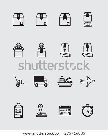 Shipping and transportation icons color