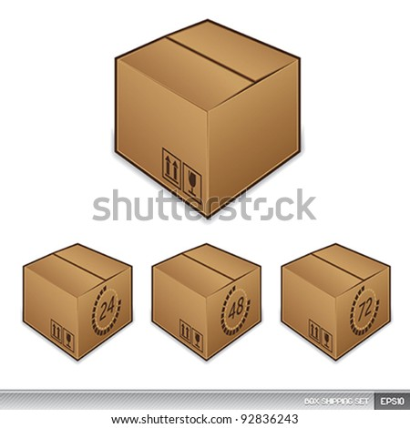Shipping box icons with time - stock vector
