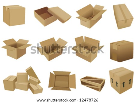 shipping box vector - stock vector