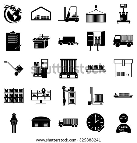 Shipping, cargo and logistic icon set.warehouse transportation icon set. - stock vector