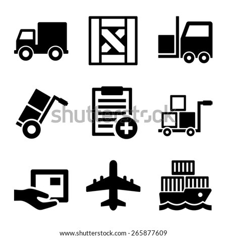 Shipping, Cargo, Warehouse and Logistic Icons Set. Vector - stock vector