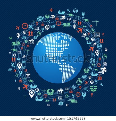 Shipping concept icons network circle around planet Earth with focus in The Americas. Vector layered for easy editing. - stock vector