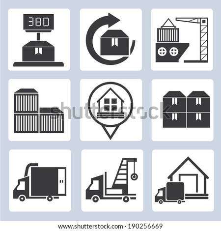 shipping icon set - stock vector