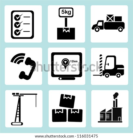 shipping icon set, logistic sign, shipping business, transportation - stock vector