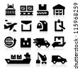 Shipping icons - stock photo