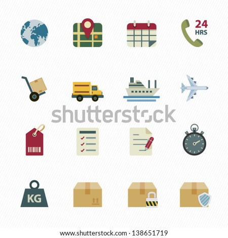 Shipping Icons and Logistics Icons with White Background - stock vector