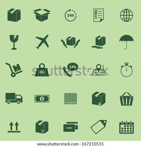 Shipping icons on green background, stock vector - stock vector
