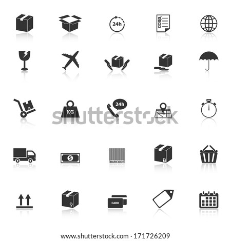 Shipping icons with reflect on white background, stock vector - stock vector