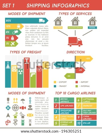 Shipping infographics (logistics, freight), vector illustration - stock vector