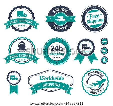 Shipping labels with different text on it. Shipping, express delivery, worldwide shipping. - stock vector