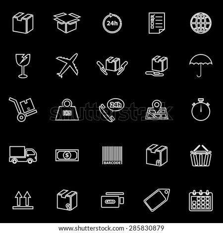 Shipping line icons on black background, stock vector - stock vector